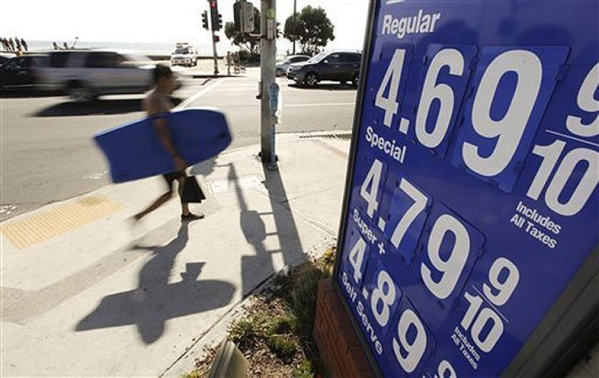 FILE - In this Friday, Oct. 5, 2012, file photo, a boogie boarder walks past a sign displaying high gas prices in Laguna Beach, Calif. Higher gas costs drove up U.S. consumer prices in September for the second straight month. But outside energy, there was little sign of inflation. (AP Photo/Chris C
