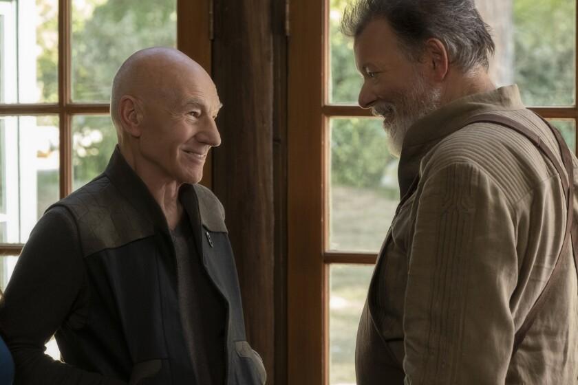 "Patrick Stewart and Jonathan Frakes in ""Star Trek: Picard"""