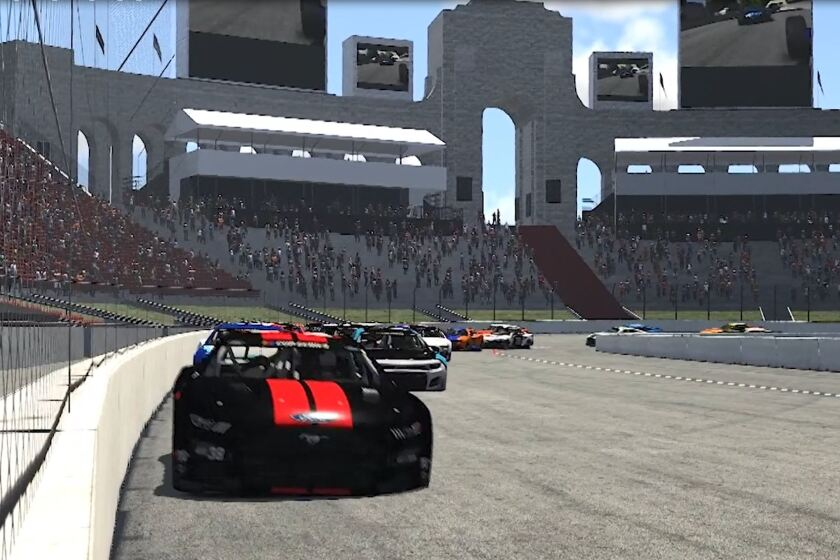 An iRacing simulation shows NASCAR at the Coliseum.