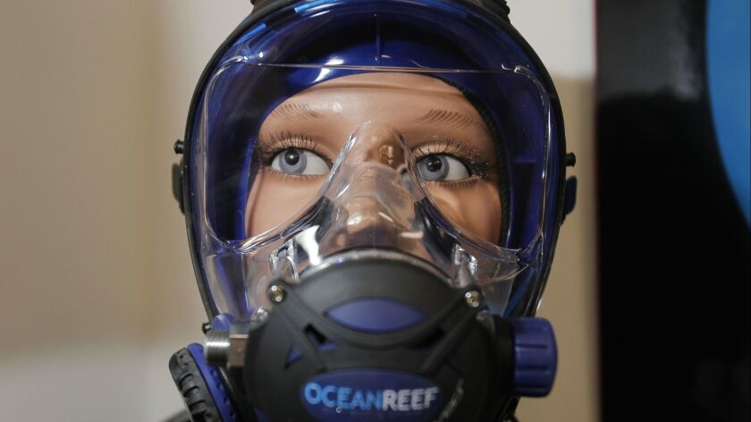 SAN MARCOS , July 11, 2018 | An Ocean Reef G Divers full face scuba diving mask, the type of mask th