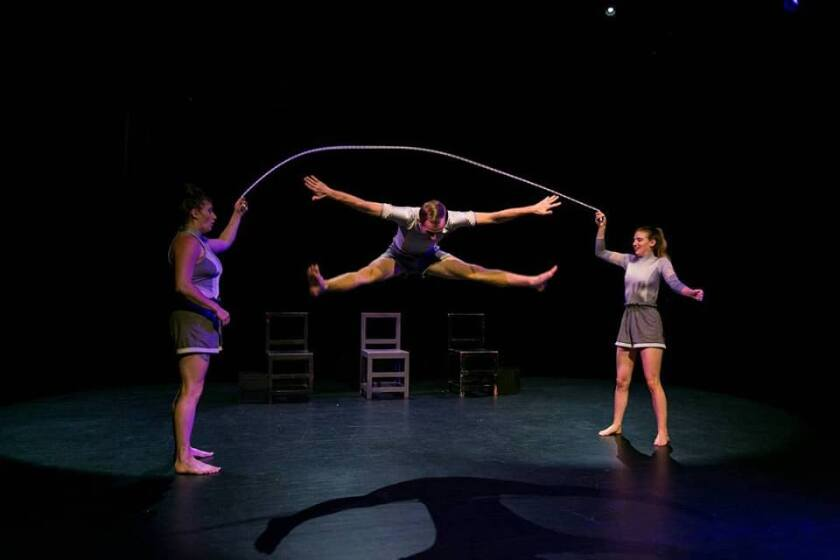 """A scene from Tangata Circus Company's """"Real[ise]"""" at the 2019 San Diego International Fringe Festival in Balboa Park."""