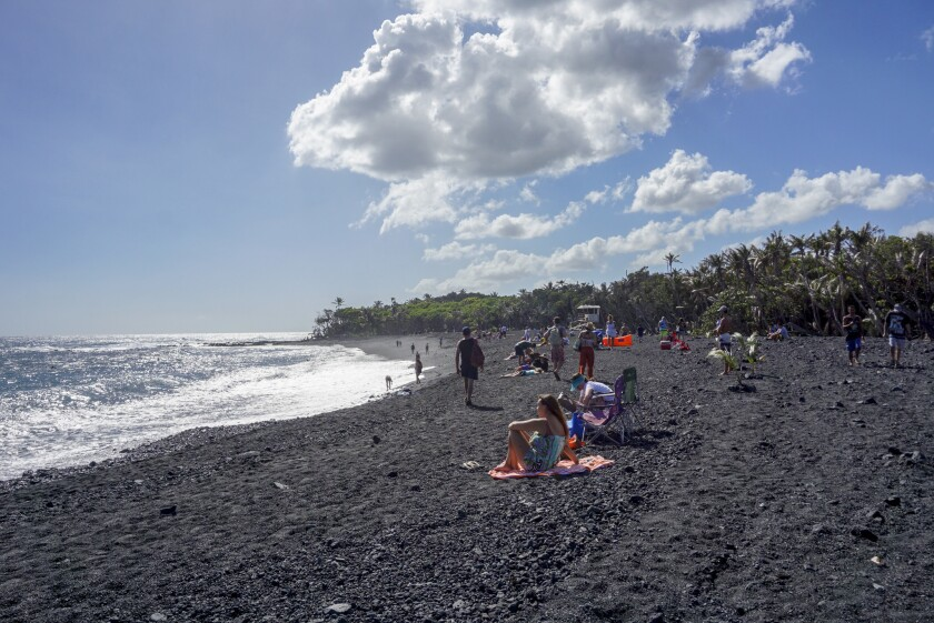 Pohoiki's new black sand beach, in Puna, Hawaii.