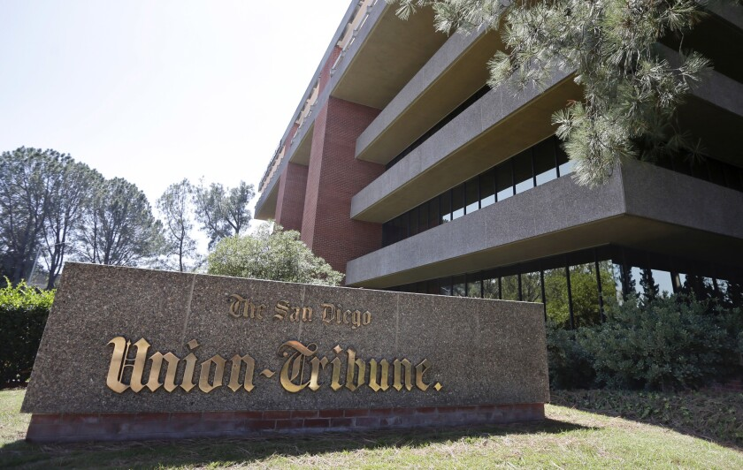 Suspicious packages were found outside the San Diego Union-Tribune newspaper building early Wednesday morning.