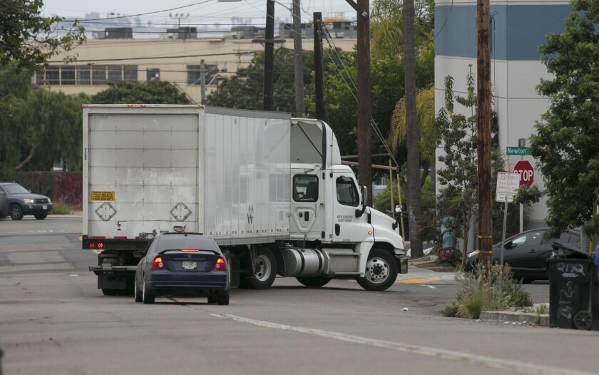 An 18 wheeler turned on to Newton street from 26th in the Barrio Logan neighborhood of San Diego on Wednesday, August 27 , 2019 despite the fact that it is posted for no truck traffic over 5 tons allowed.