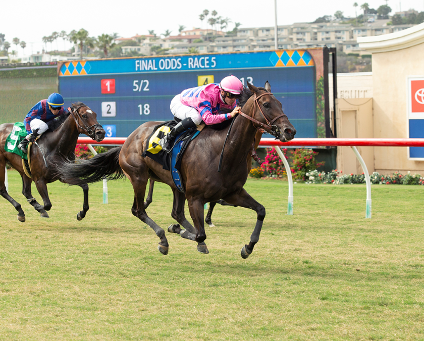 Toinette, with Flavien Prat aboard, wins the feature race Wednesday at Del Mar.