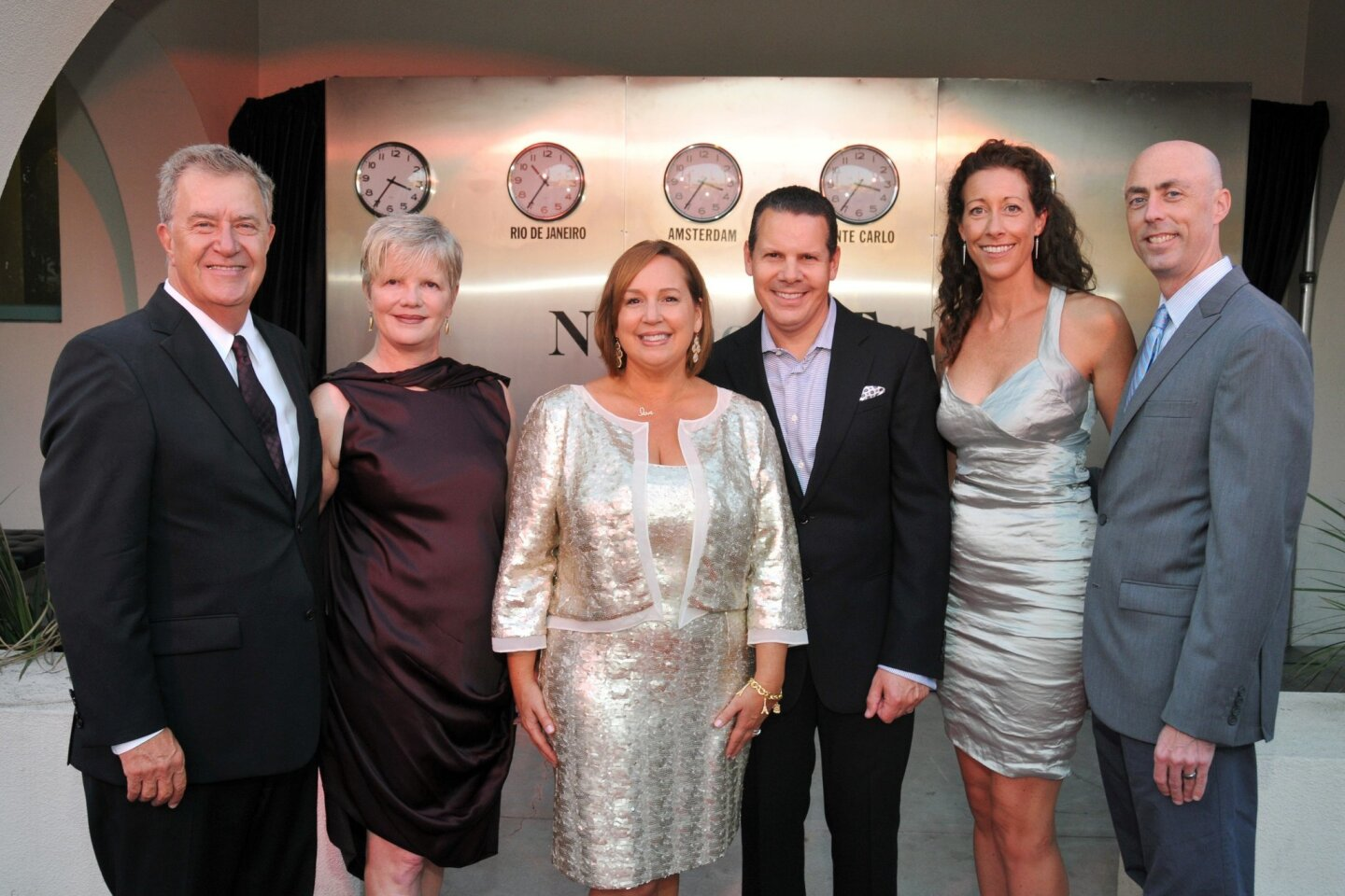 Museum of Contemporary Art San Diego CEO Hugh M. Davies and Faye Hunter, gala chairs Natasha and John Ippolito, MCASD advancement director Edie Nehls and Danny Cappiello