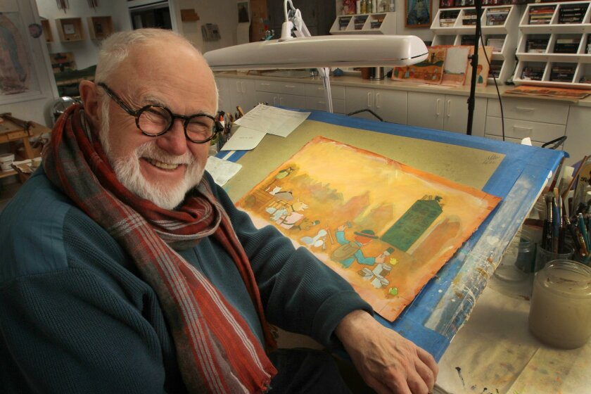 """In this photo taken Sunday Dec. 1, 2013 children's author and illustrator Tomie dePaola poses in his studio with artwork from his new book """"Jack"""" in New London, N.H. As he nears his 80th birthday, dePaola, is still working on new books for children. (AP Photo/Jim Cole)"""