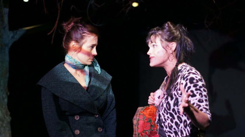 "Rhianna Basore (left) and Hannah Logan in Ion Theatre's ""Kin."""