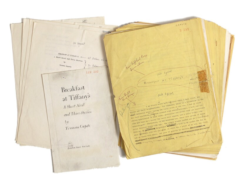 """A manuscript of """"Breakfast at Tiffany's"""" with annotations by author Truman Capote."""