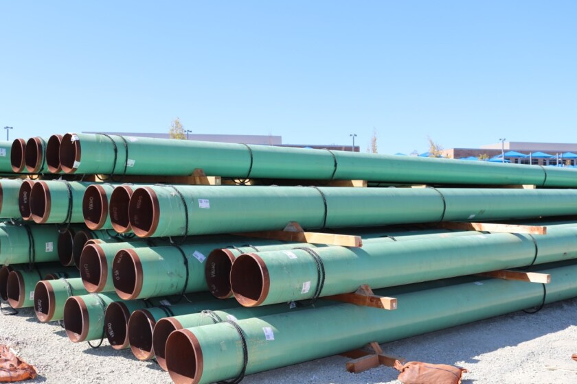 SDG&E natural gas pipelines wait to be installed