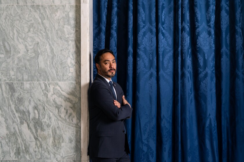 Rep. Joaquin Castro poses for a portrait in the Rayburn House Office Building on May 13, 2021