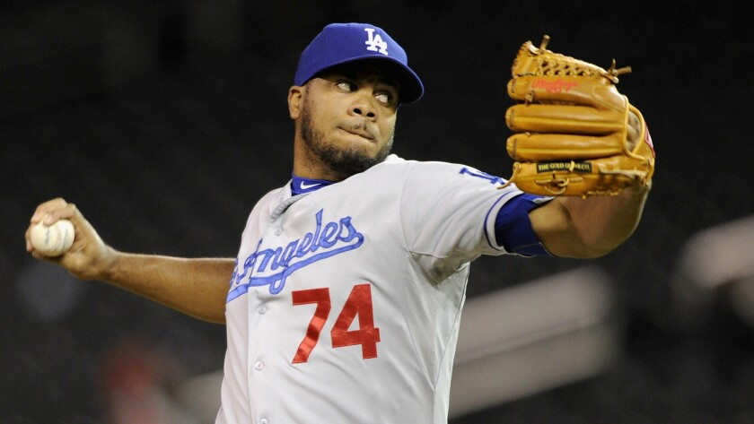 Dodgers closer Kenley Jansen delivers a pitch during a win over the Minnesota Twins on May 1. Jansen struggled in the team's loss to the San Francisco Giants on Sunday.