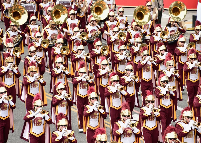 The USC marching band participates in the Rose Parade on Jan. 2, 2017.