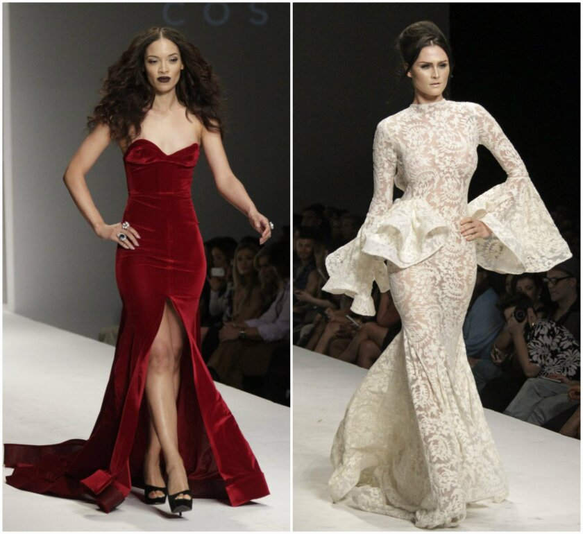 Looks from the MT Costello, left, and Michael Costello, right, runway collections presented Monday at Style Fashion Week in Los Angeles.
