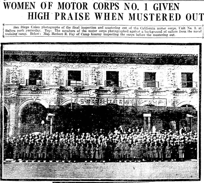 The women of California Motor Corps Unit No. 1 in January 1919.