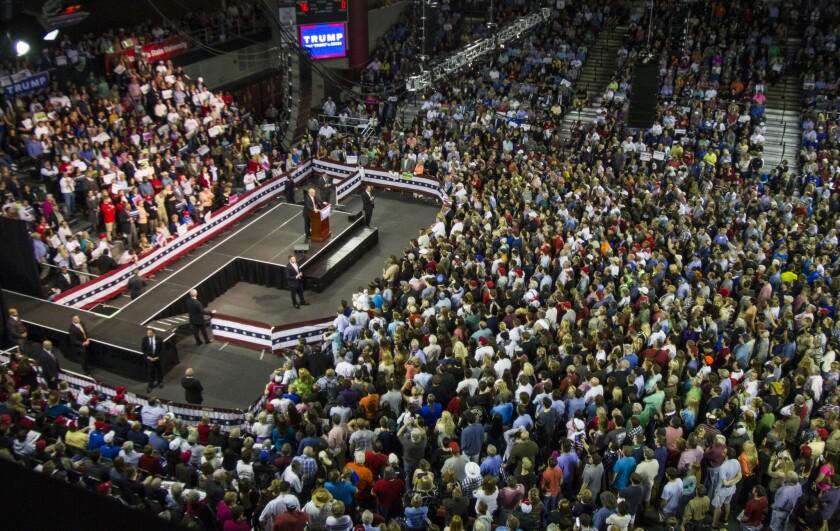Republican presidential front-runner Donald Trump at a rally in Valdosta, Ga.