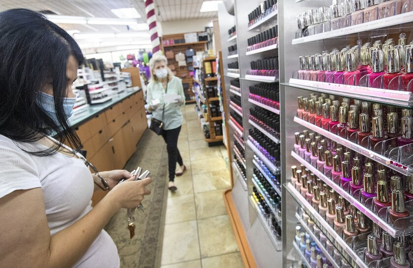 Jaqueline Argelagos shops for nail polish at Sherman Oaks Beauty Collection.