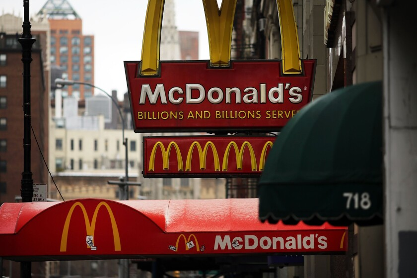 McDonald's is facing complaints in 19 cities from workers who claim they suffered burns on the job and fault the company for creating hazardous working conditions, advocacy group Fast Food Forward said. Above, a McDonald's in New York City.
