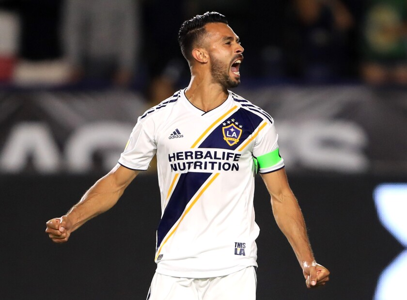 Galaxy defender Giancarlo Gonzalez reacts during a match against Tijuana during Leagues Cup play in July.