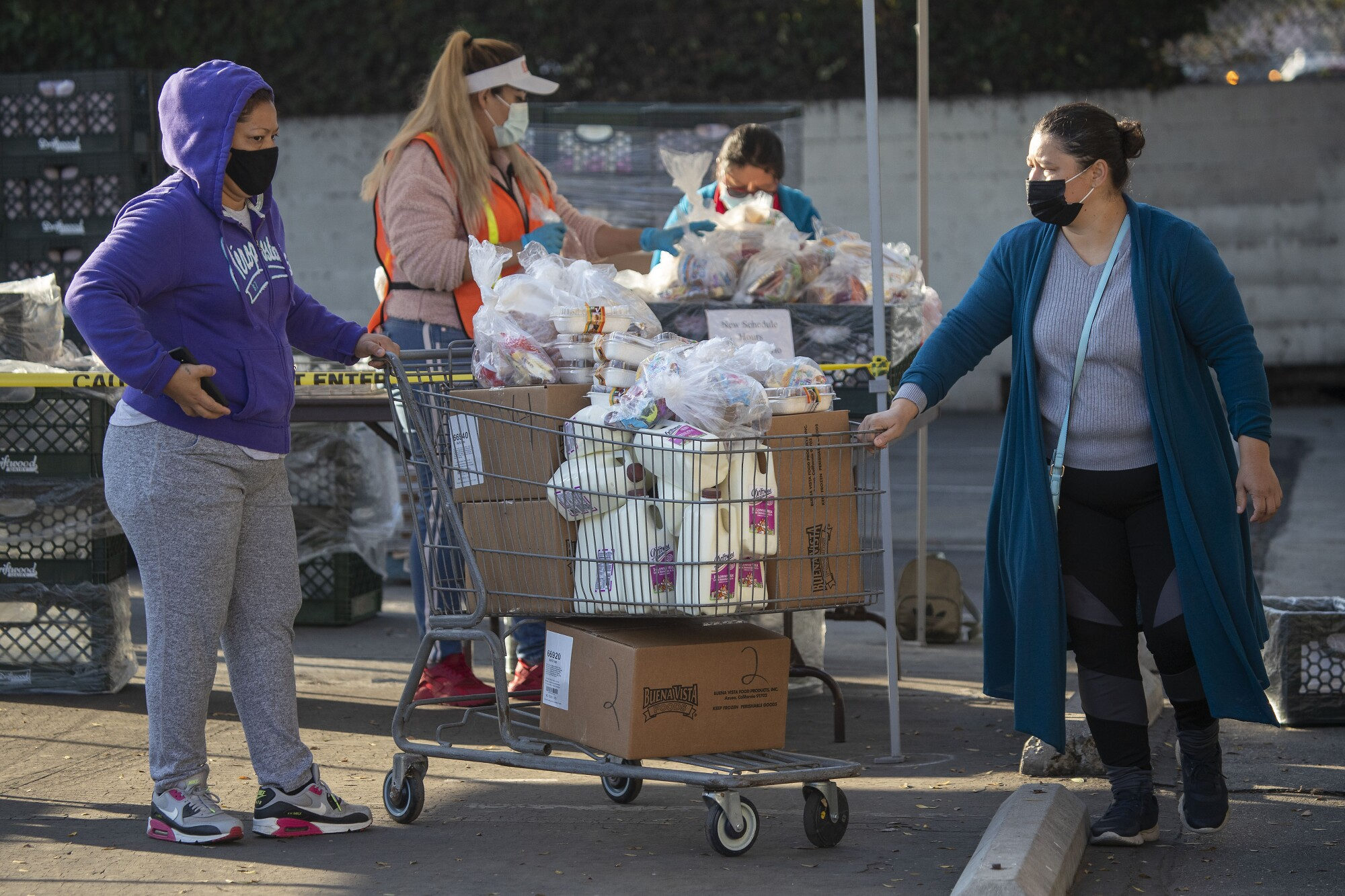 People stand in line with carts full of food at a school parking lot