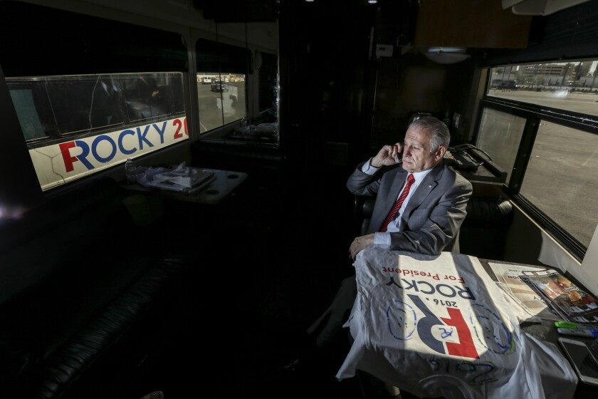 """Roque """"Rocky"""" De La Fuente, pictured riding on the campaign bus Rocky 2 in Nevada when he was running as a Democrat for president in 2016, is running again, this time as a Republican."""