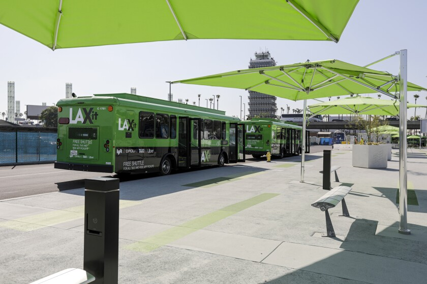 Starting Oct. 29, shuttle buses will carry LAX passengers to a new pickup area, just east of Terminal 1, to summon an Uber or Lyft.