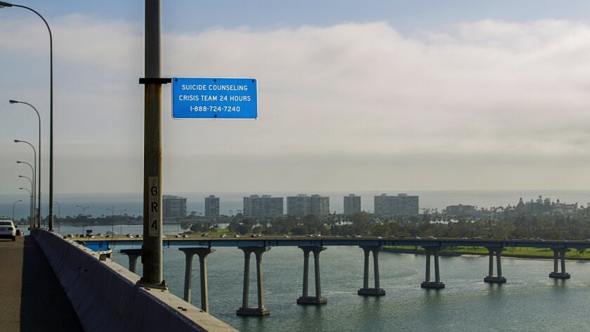 The Coronado bridge has suicide help-line signs, but no barriers. A local group would like to change that.