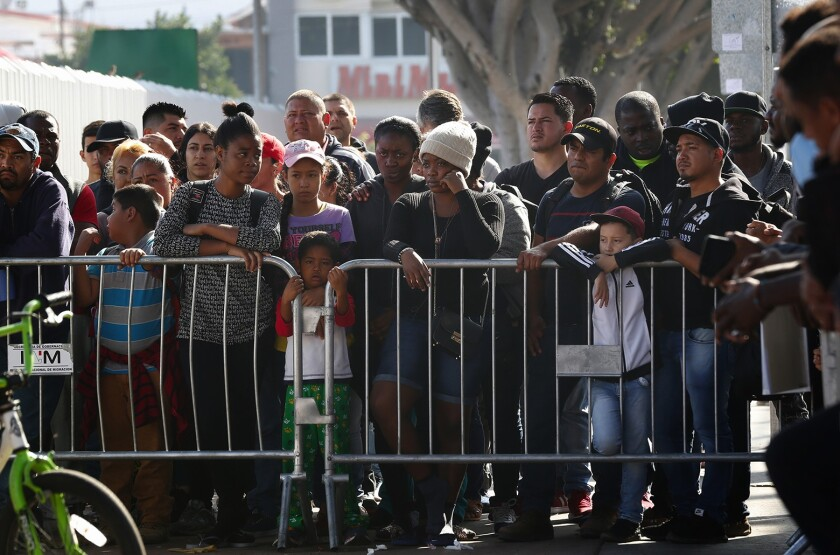 Asylum seekers in January wait in Tijuana to go to the U.S. border to meet with U.S. immigration officials.