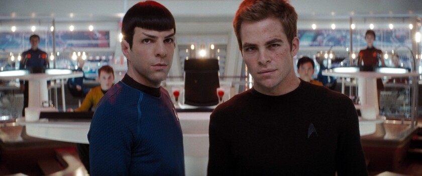 "Zachary Quinto as Spock, left, and Chris Pine as Kirk helped reboot ""Star Trek"" with director J.J. Abrams."