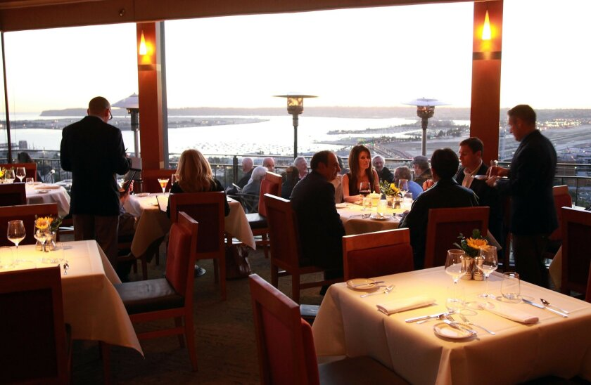 Dinner at Mister A's includes a room with a view.