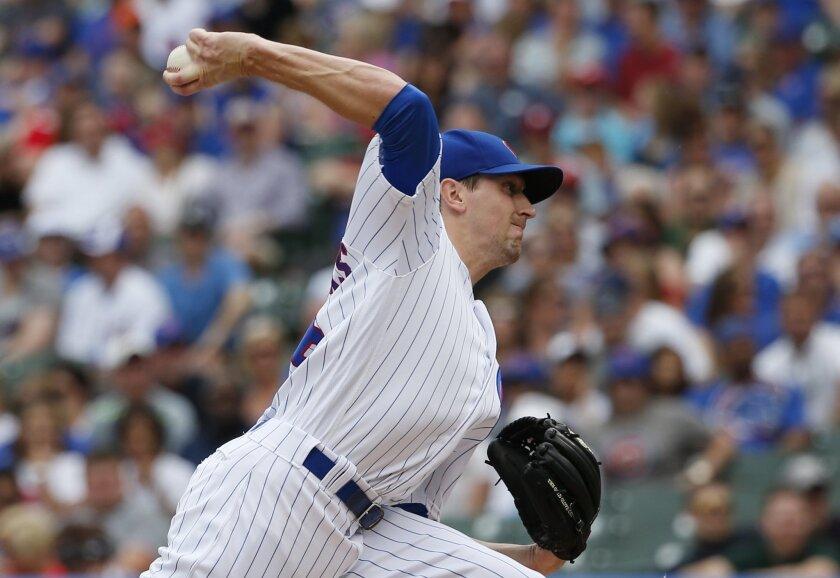 Chicago Cubs starter Kyle Hendricks throws against the Philadelphia Phillies during the first inning of a baseball game Saturday, May 28, 2016, in Chicago. (AP Photo/Nam Y. Huh)