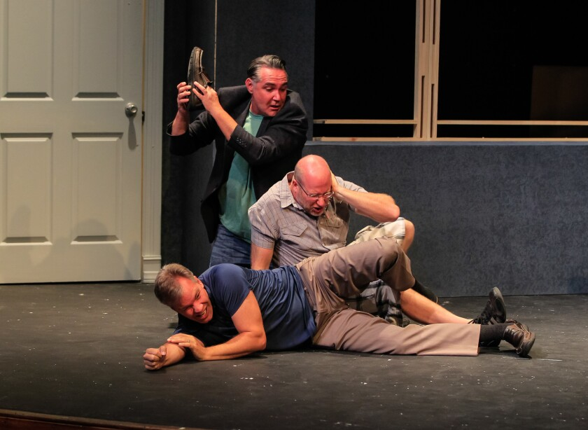 """Actors Daren Scott, Jacob Bruce and Jason Heil (clockwise from top) work on their social skills during a rehearsal for Intrepid Theatre's """"Art."""""""