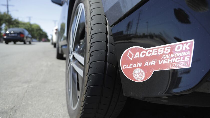 TORRANCE, CA -- SEPTEMBER 14, 2018: The red clean air vehicle decal is for vehicles that meet Califo