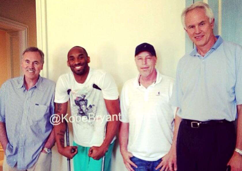 Kobe Bryant gets a visit from Kupchak, D'Antoni and Jim Buss