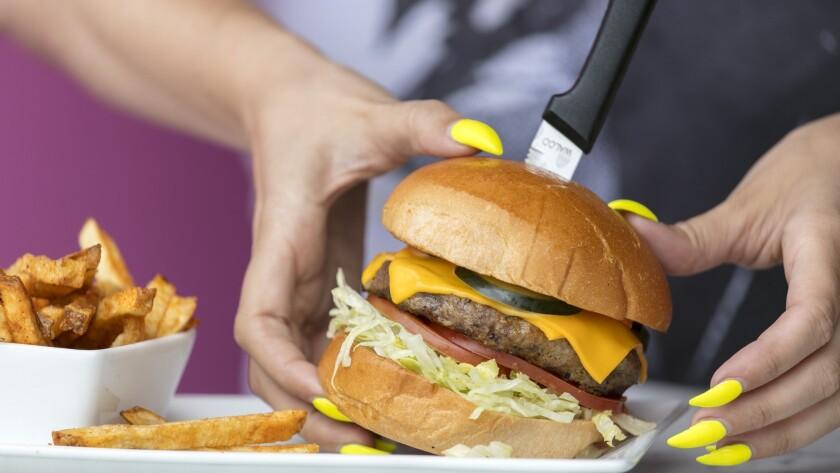 LOS ANGELES, CALIFORNIA - May 18, 2019: A signature Mary hamburger at Hamburger Mary's in Hollywood