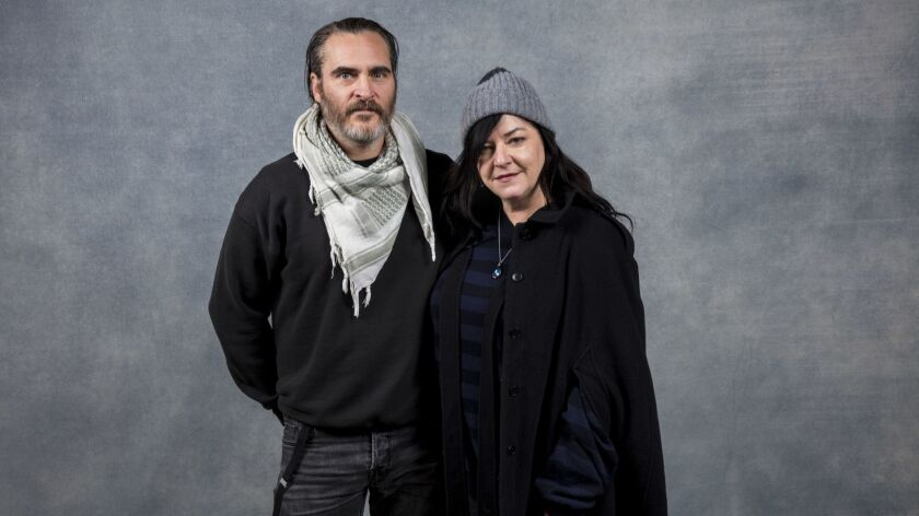 PARK CITY,UTAH --FRIDAY, JANUARY 19, 2018-- Actor Joaquin Phoenix and director Lynne Ramsay, from th