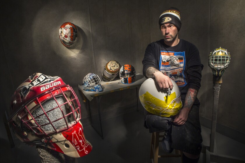 After a car crash injury prevented Noah Ennis from playing hockey, he managed to stay involved in the sport by painting goaltender helmets.