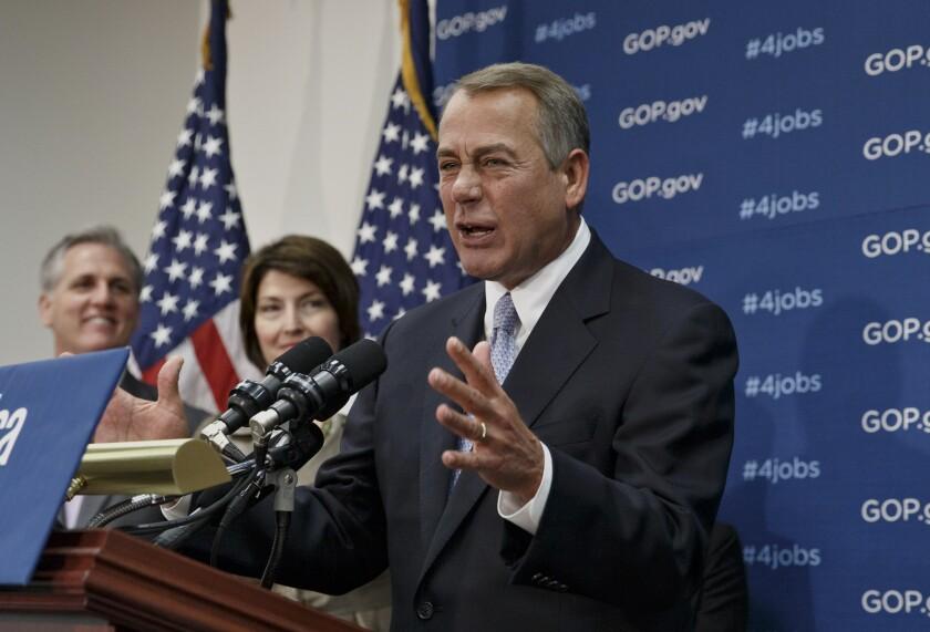 House Speaker John A. Boehner of Ohio speak to reporters on Capitol Hill.