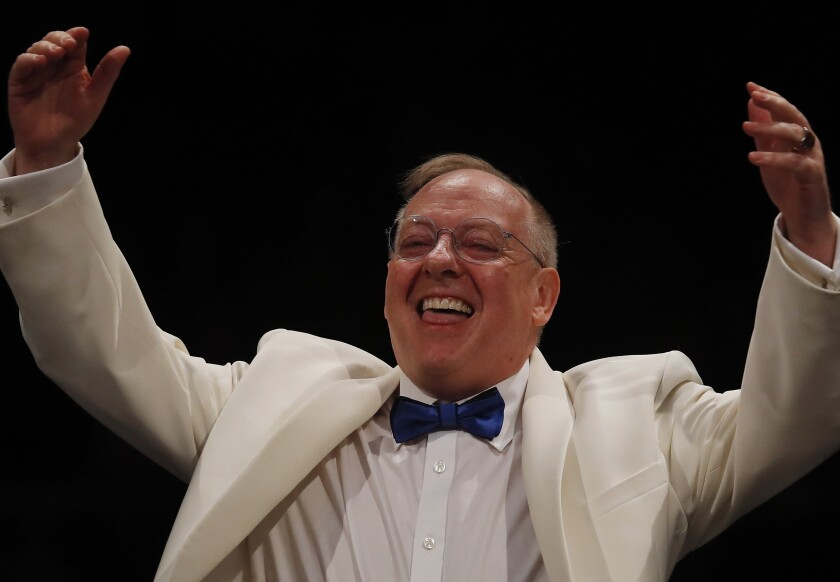 Nicholas McGegan, a late-summer staple at the Hollywood Bowl, conducting the L.A. Phil on Thursday.