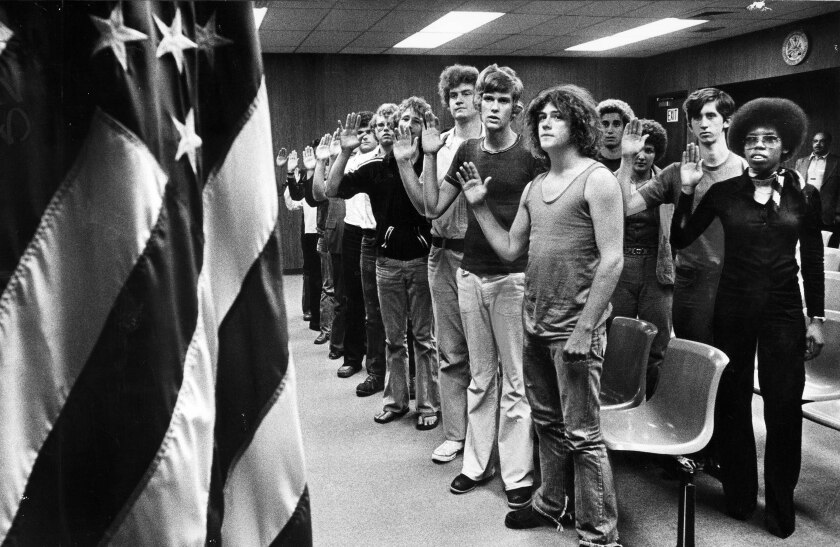 A 1977 induction ceremony for Army volunteers at the Armed Forces Building on Wilshire Boulevard