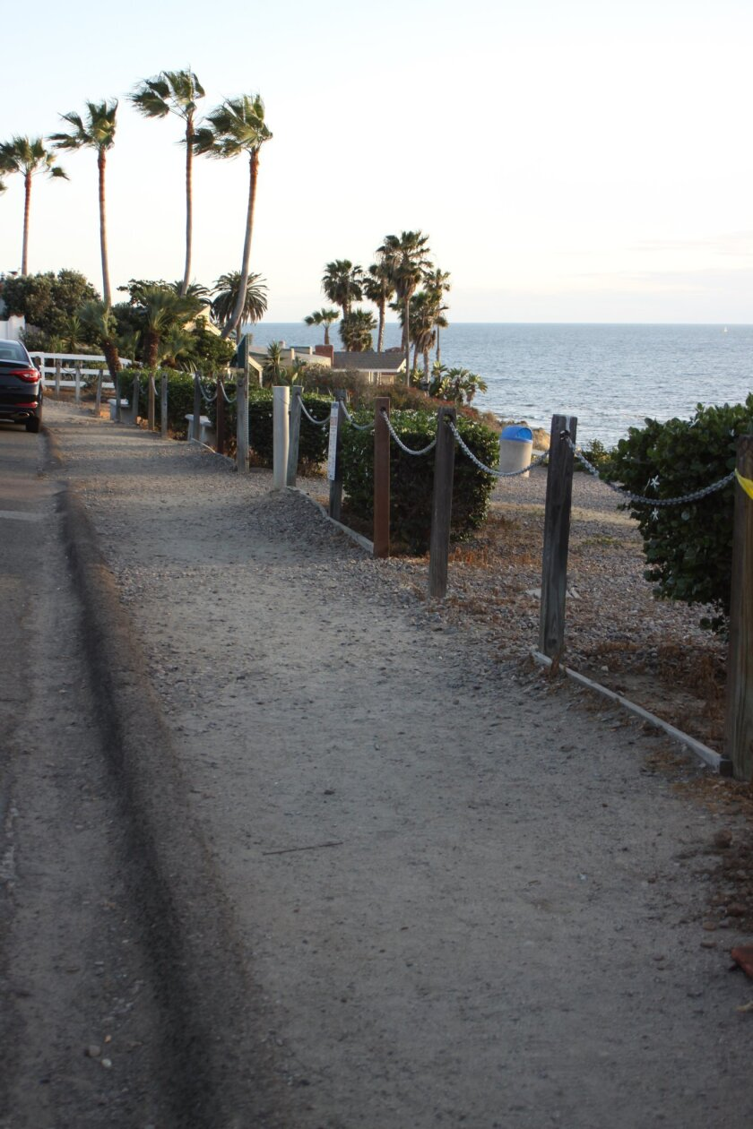 For at least 10 years, residents have wanted a sidewalk built where there is now a dirt path in front of La Jolla Hermosa Park.
