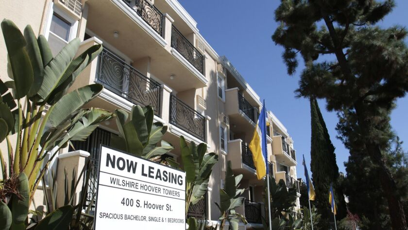 LOS ANGELES, CA. AUG. 21, 2014. Rental apartments in Koreatown in Los Angeles on Aug. 21, 2014. Stor