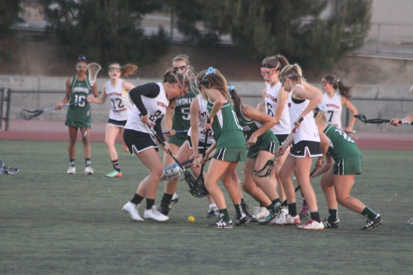 The La Jolla High School Vikings fought hard against the Coronado Islanders April 17.