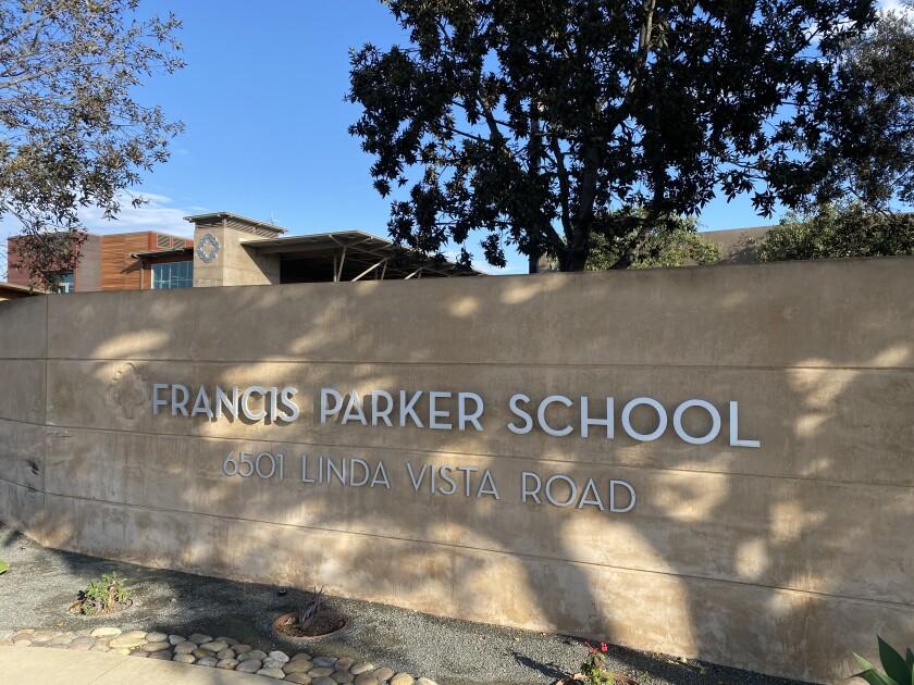 Francis Parker School sign at Linda Vista Road.