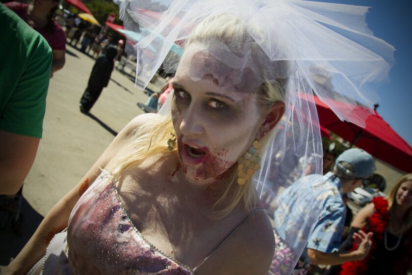 Shauna Costello as a Walking Dead Zombie at Balboa Park during Halloween Family Day.