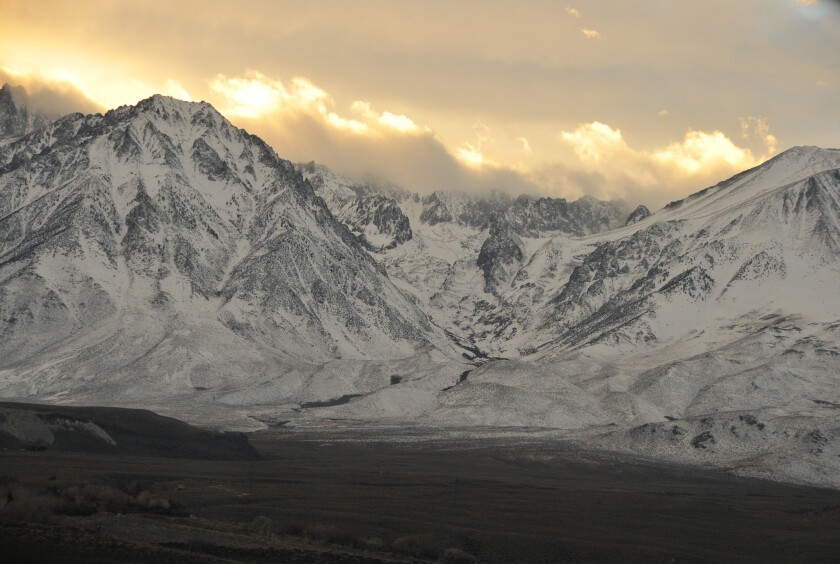 Recent storms dumped snow on the mountains just south of Big Pine.