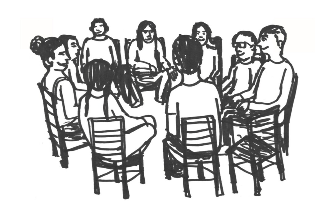 Black and white sketch of a group of people sitting on chairs in a circle