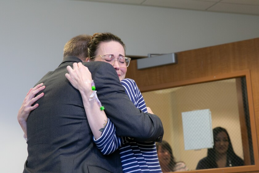 3 - Liver donation recipient Breana Shaw is overcome as she meets her donor, Damian Delaney, for the first time.jpg