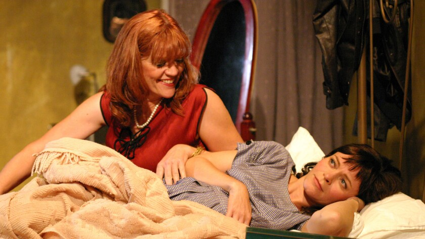 """Mother (Sarah Underwood Saviano) and daughter (Kestrel Leah) in """"A Taste of Honey"""" at the Odyssey Theatre."""