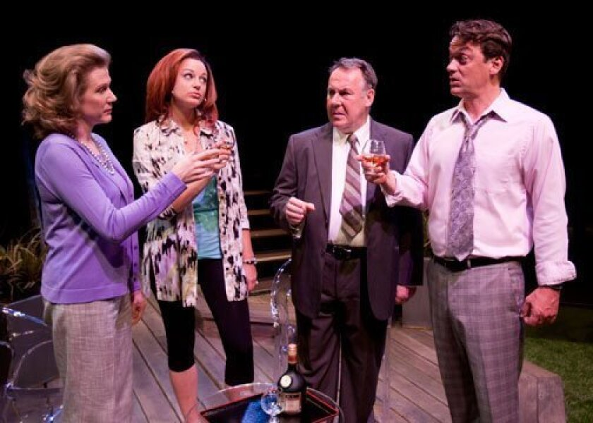 """Henny Russell, Dana Green, Colin McPhillamy and Ray Chambers in the U.S. premiere of Alan Ayckbourn's """"Life of Riley"""" at the Old Globe Theatre."""